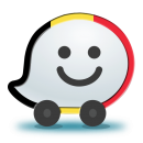 Logo of a Wazer with the Belgian flag superimposed on its side